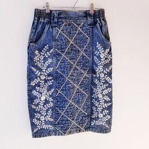 Vintage studded embroidered acid wash jean skirt